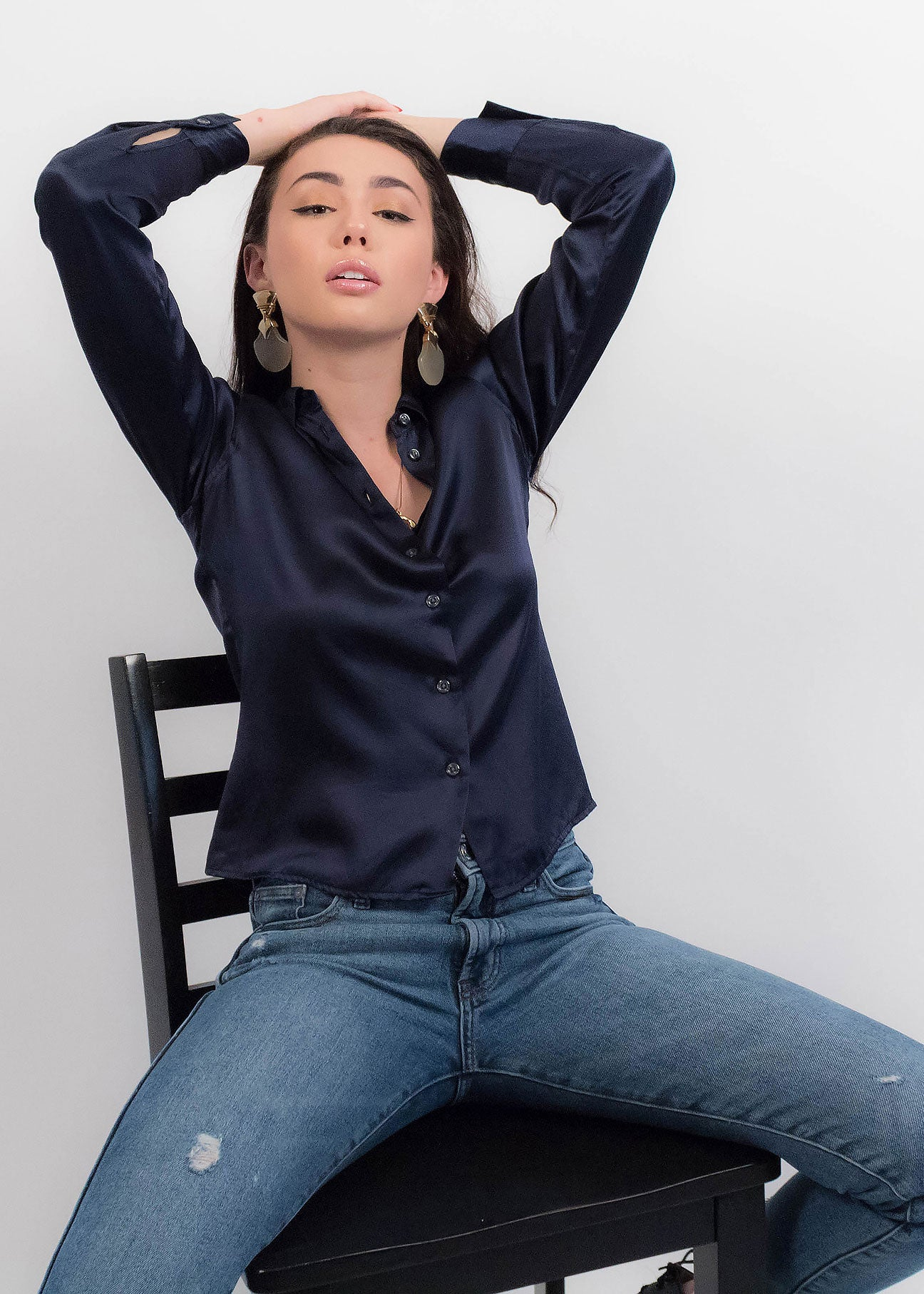 90s Navy Silk Blouse