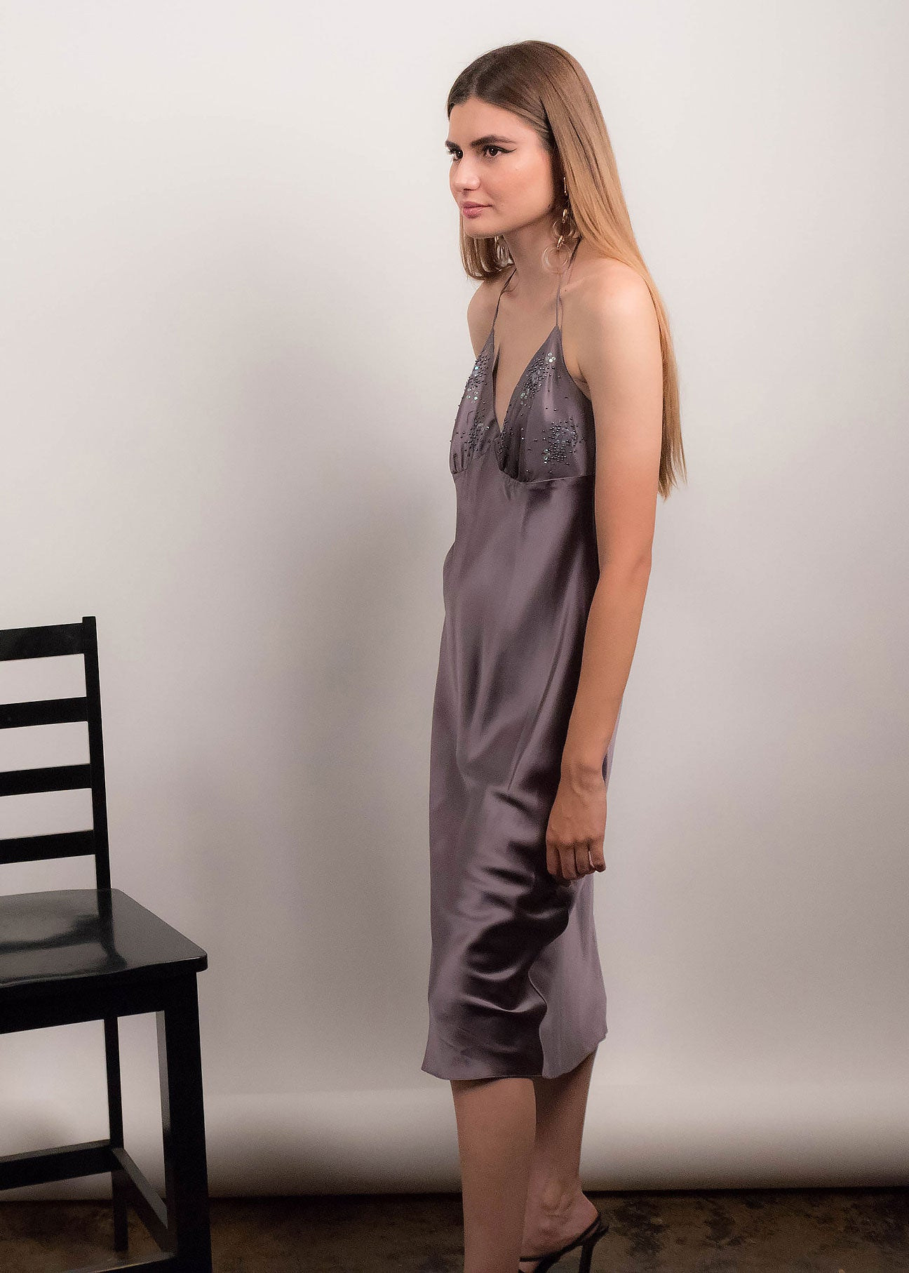 90s Halter Silk Slip Dress