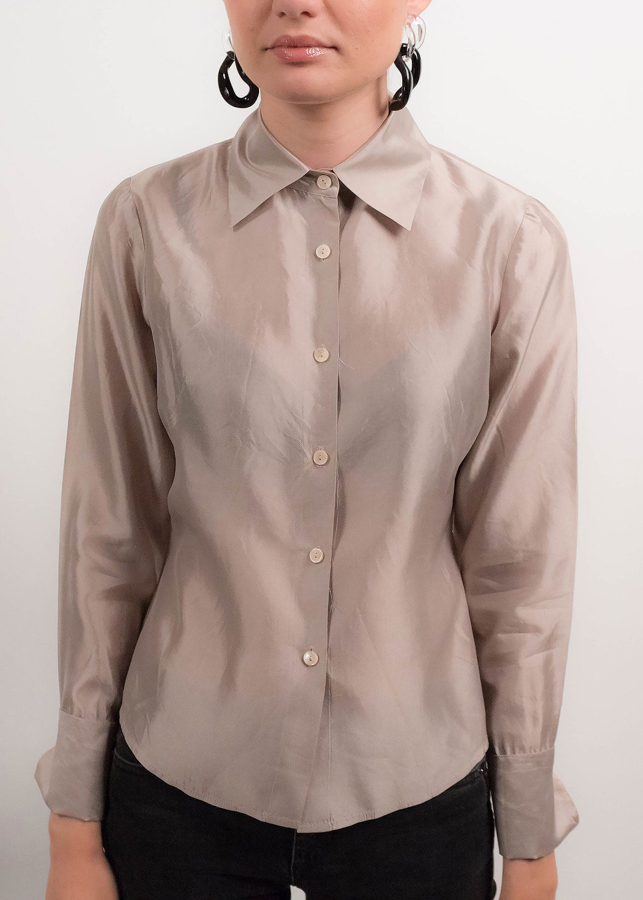 90s Silver Metallic Silk Blouse