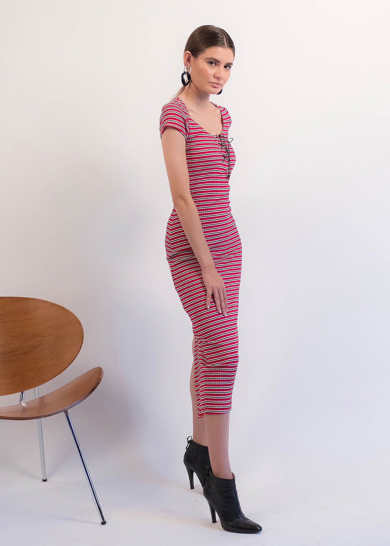 90s Ribbed Striped Dress