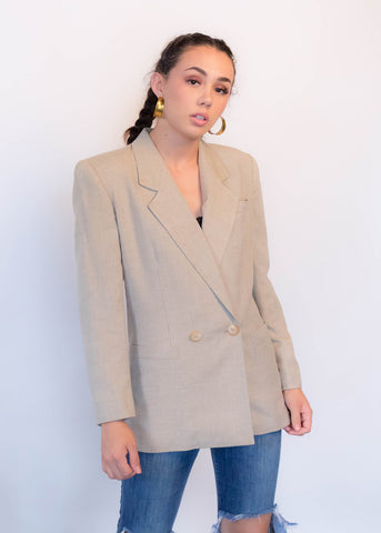 80s Structured Wool Tweed Coat