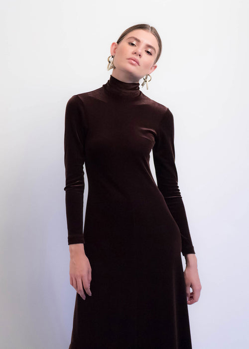 90s Velvet Mock Neck Dress