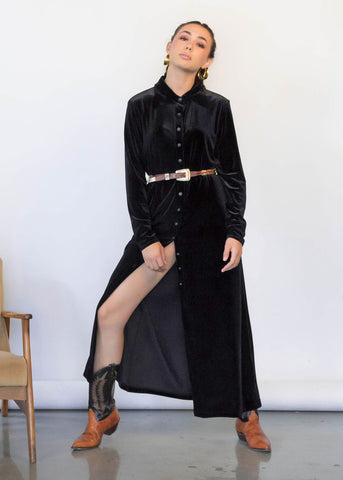 80s Black Velvet Tuxedo Dress