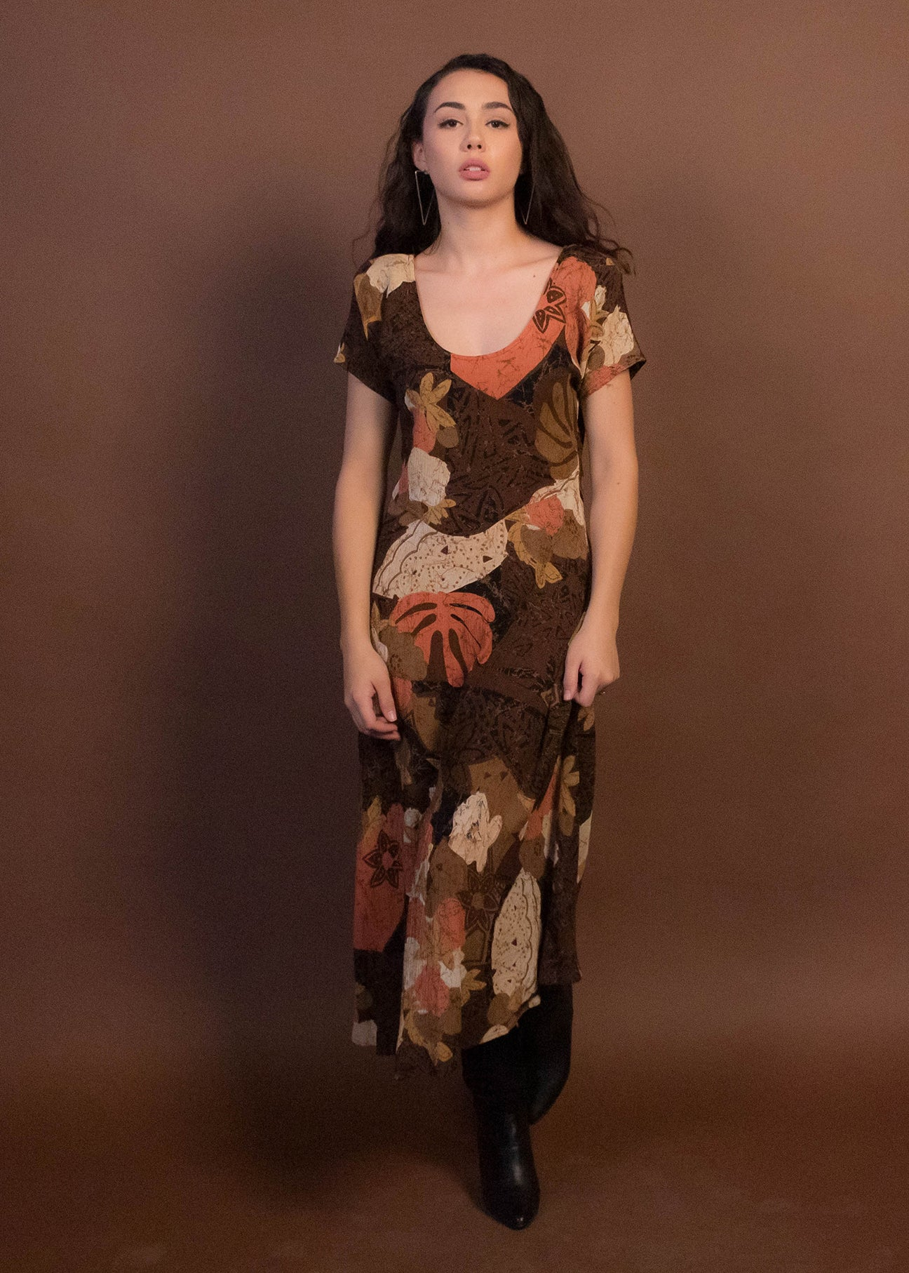 90s Tropical Floral Midi Dress