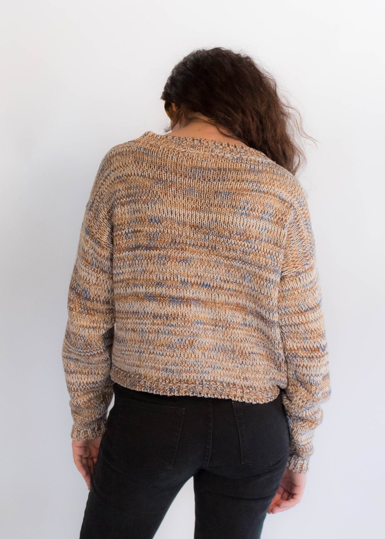 90s Space-Dyed Cable Knit Crop Sweater