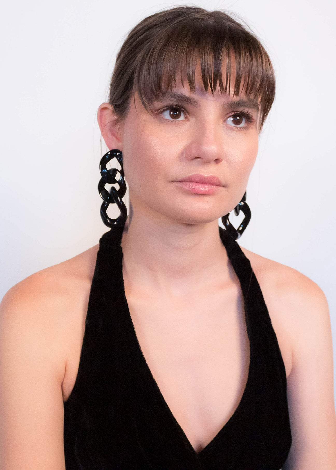 Oversized Black Chain-Link Earrings