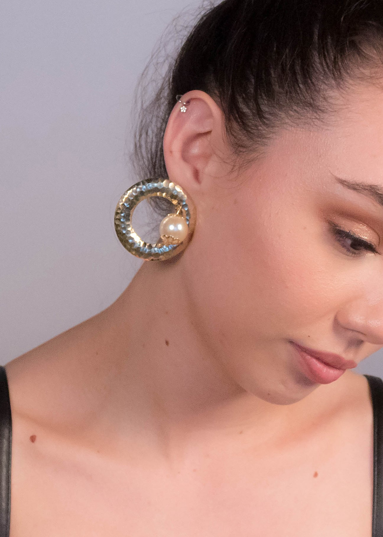 80s Circle Pearl-Drop Earrings