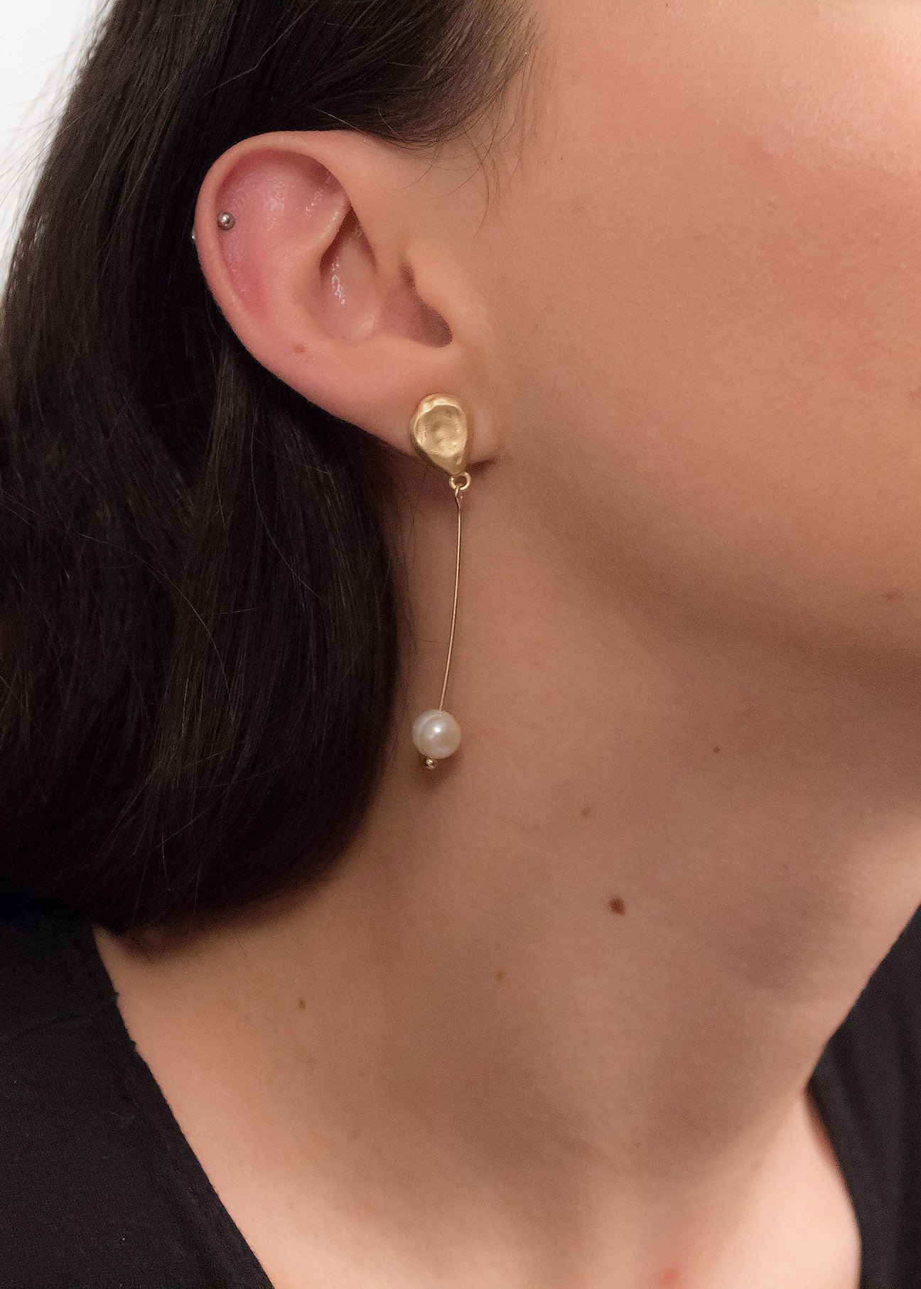 Minimalist Pearl Drop Earrings