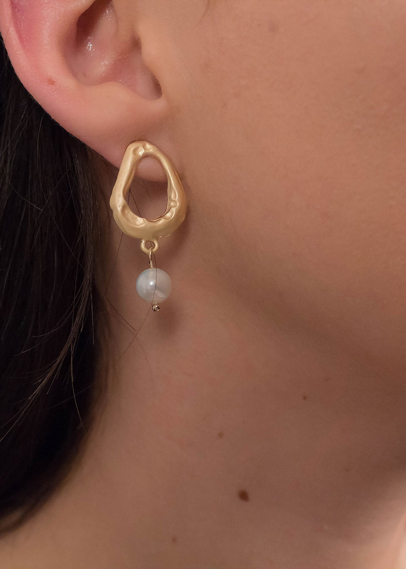 Organic Oval Faux Pearl Earrings