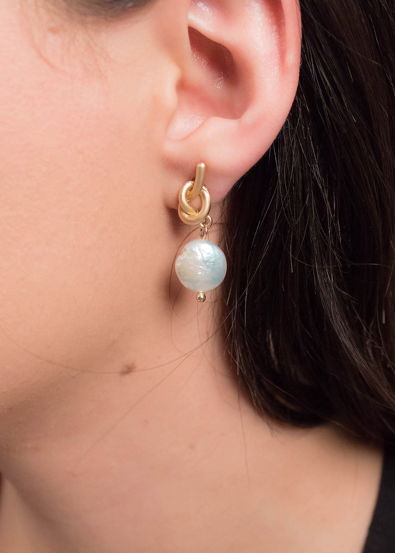 Organic Pearl Knot Earrings