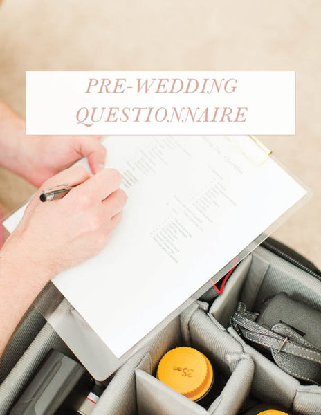 Pre-wedding questionnaire template to collect important information needed for the wedding day