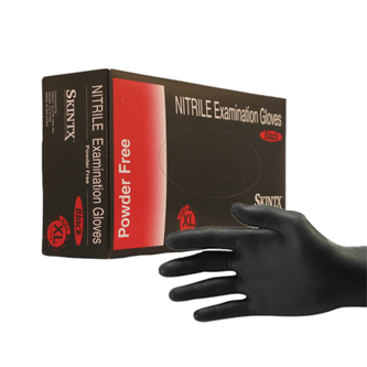 Skintx Black Nitrile Exam Gloves Power Free