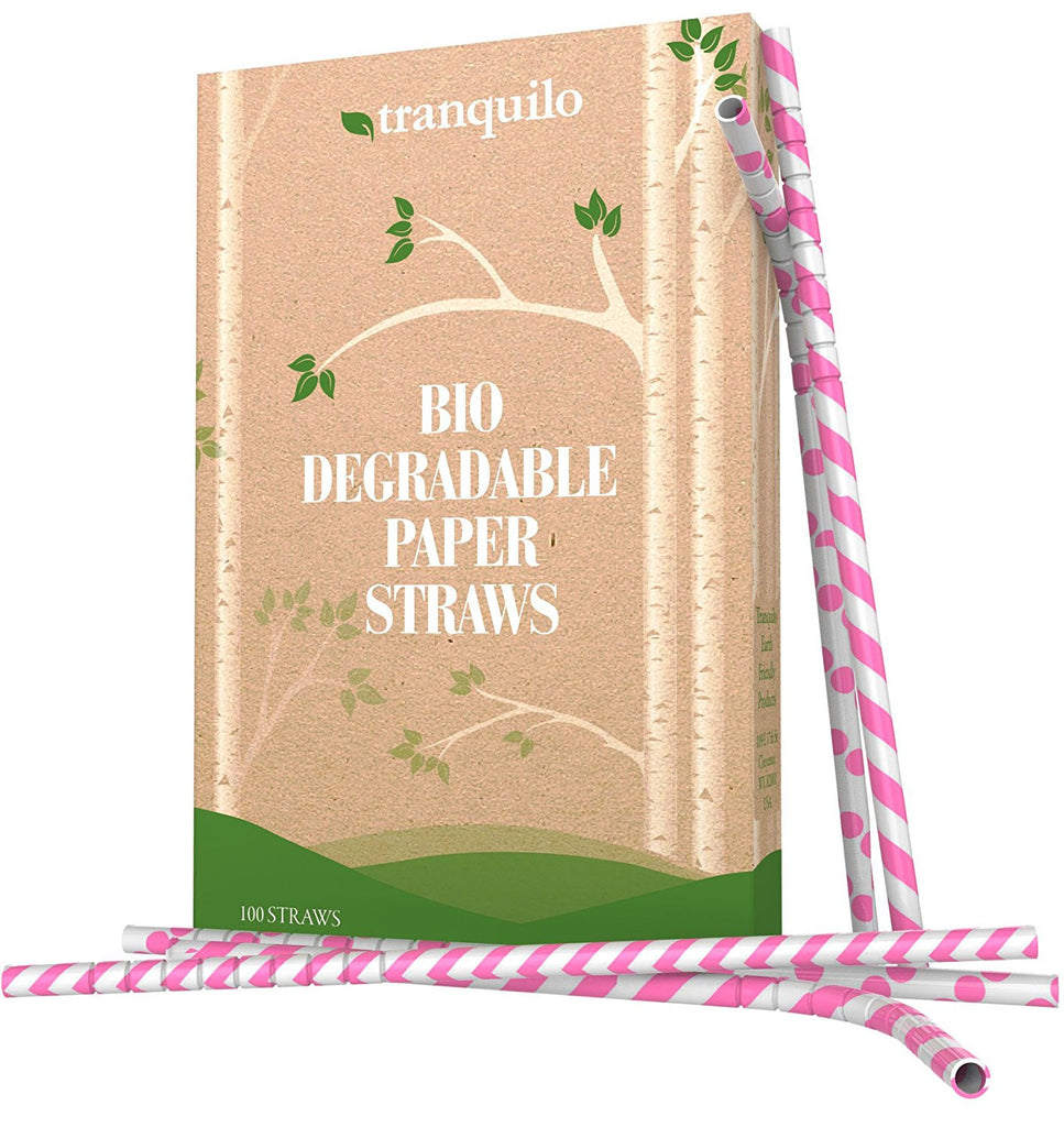 Paper Straws - Replacement Straws - Disposable Biodegradable Drinking Straws - Fun Straws Made From Wrapped Paper Are Better Than Plastic Straws - Box of 100 Blue Paper Straws