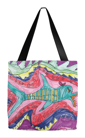 Shark with Hairbow Tote Bag