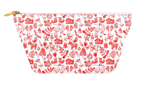 Red Christmas Accessory Pouch