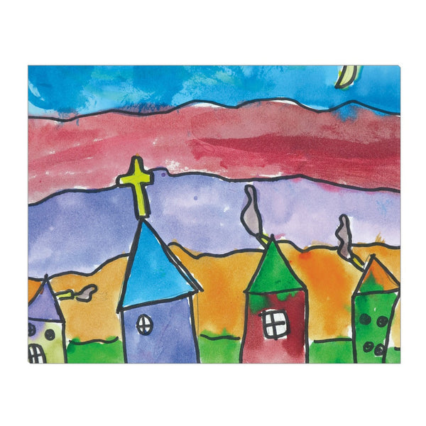 Church Town Wrapped Canvas