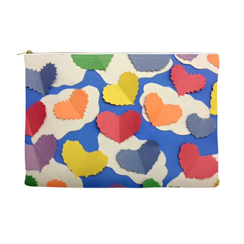 Colorful Cutout Hearts Accessory Pouch
