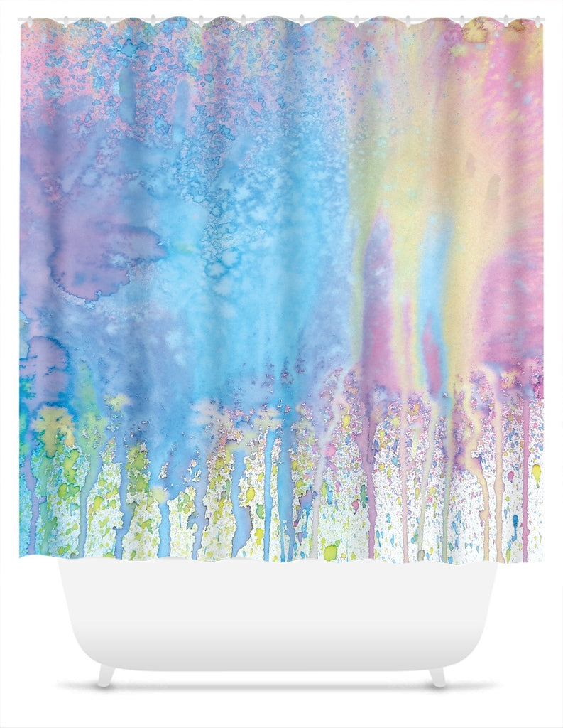 Pastel Splatter Paint Shower Curtain