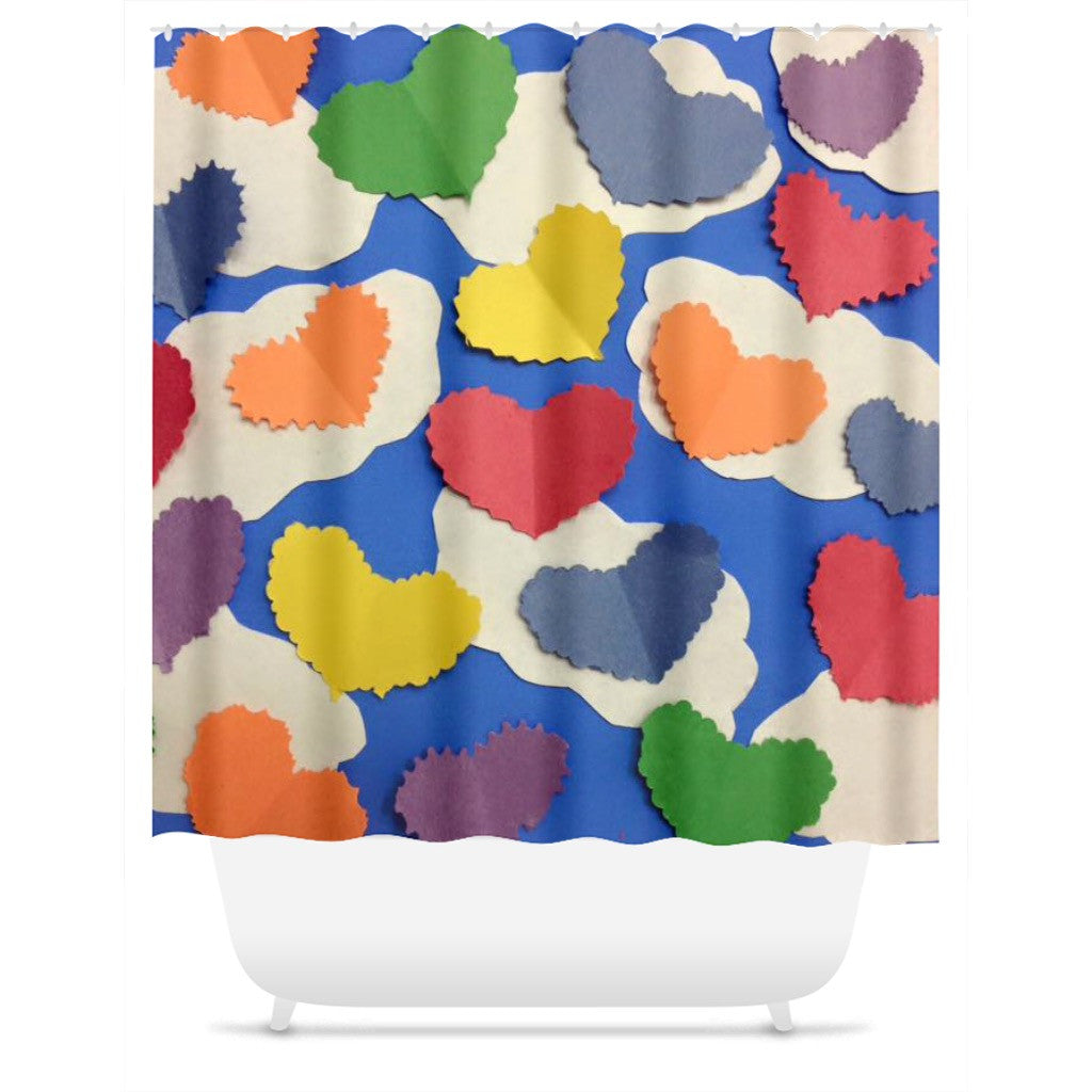 Colorful Cutout Hearts Shower Curtain