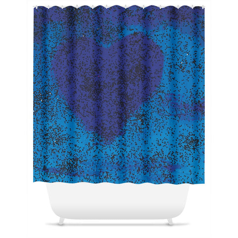 Blue Heart Shower Curtain