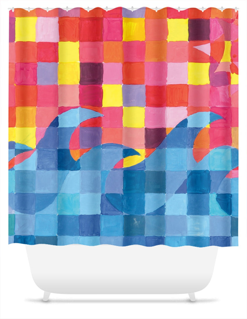 Sunset Wave Grid Shower Curtain