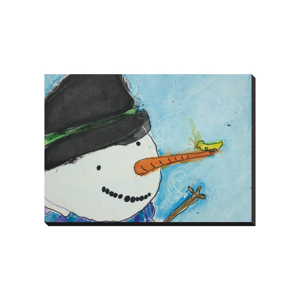 Snowman With Bird Wrapped Canvas