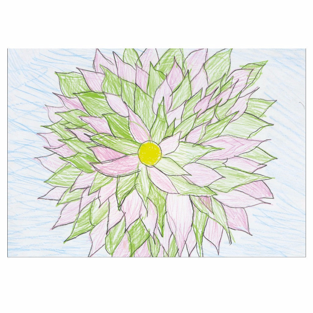 Green and Pink Flower Note Cards