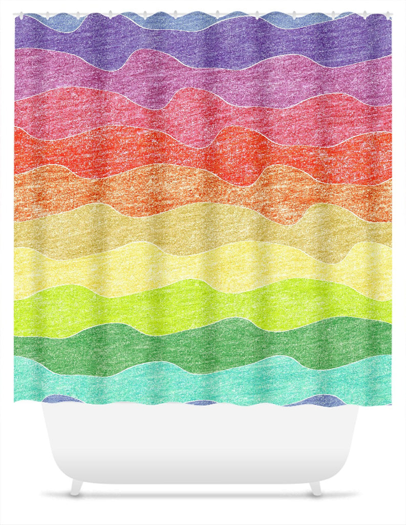 Crayon Waves Shower Curtain