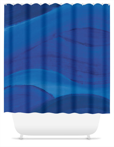 Blue Brushstrokes Shower Curtain