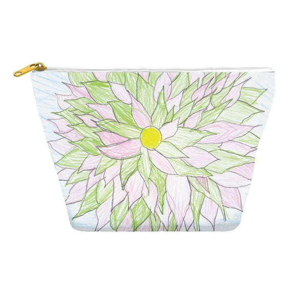 Green and Pink Flower Accessory Pouch