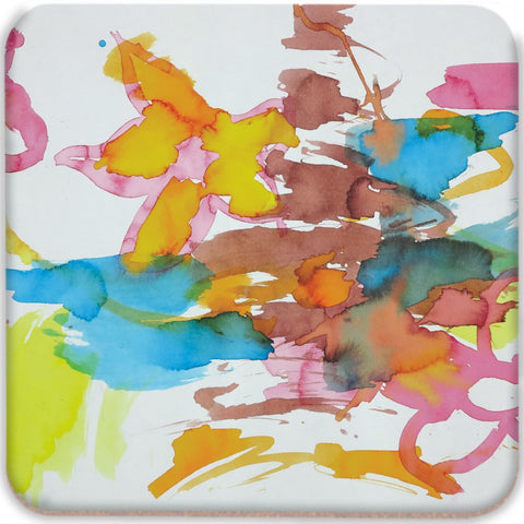 Bright Watercolor Flowers Coasters