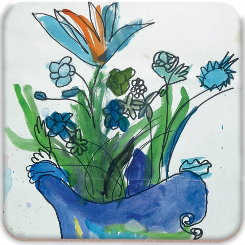 Blue Vase & Flowers Coasters