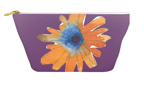 Orange Flower Accessory Pouch
