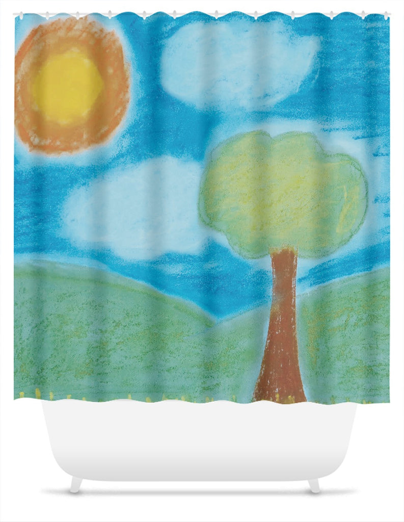 Green Pastel Landscape Shower Curtain