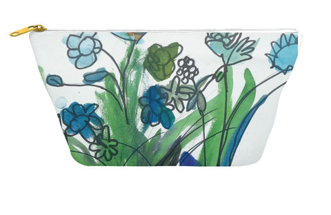 Blue Vase & Flowers Accessory Pouch