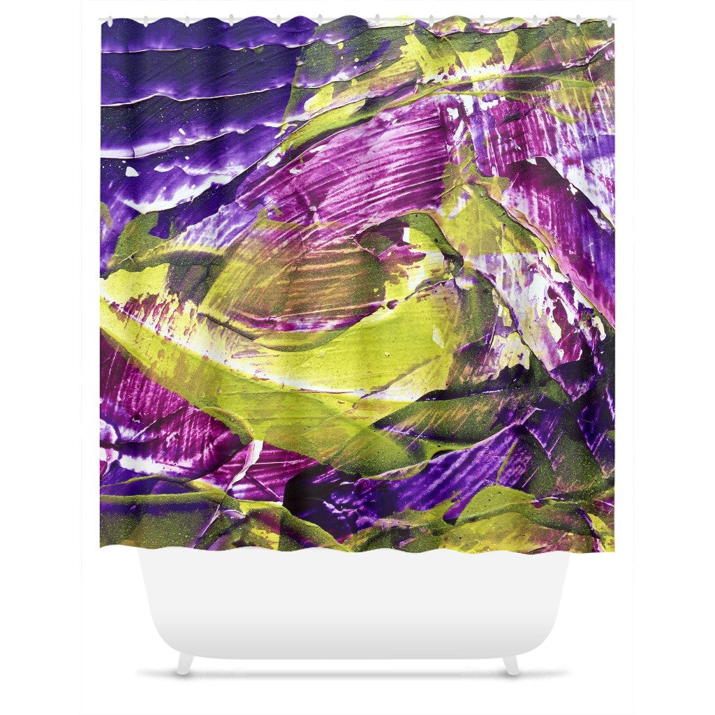 Purple Green Abstract Shower Curtain