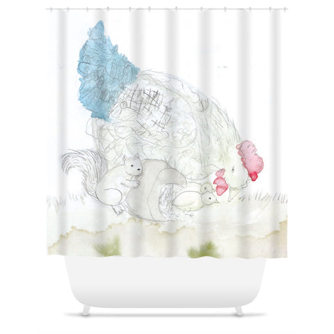 Squirrel & Chickens Shower Curtain