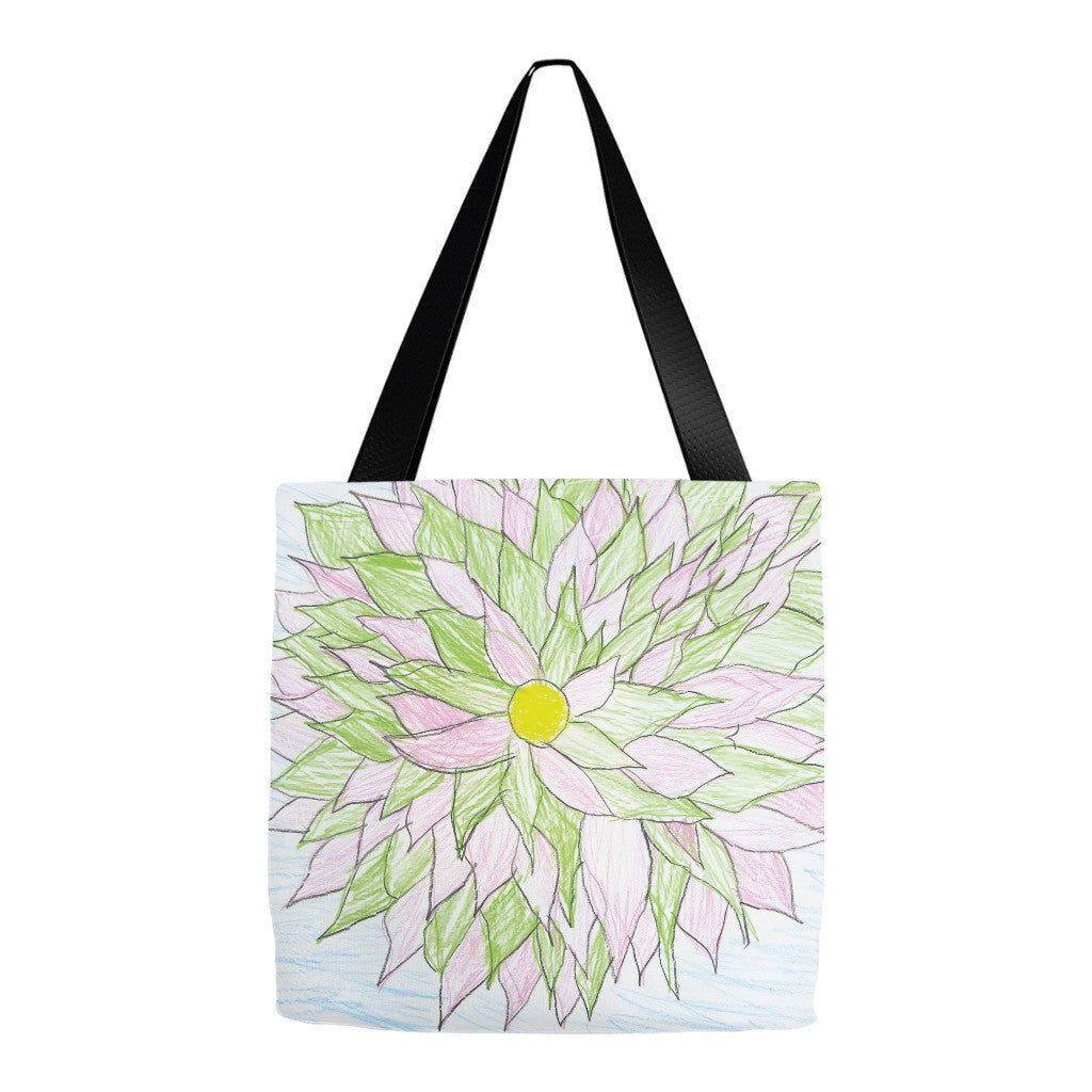 Green and Pink Flower Tote Bag