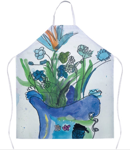 Blue Vase & Flowers Apron