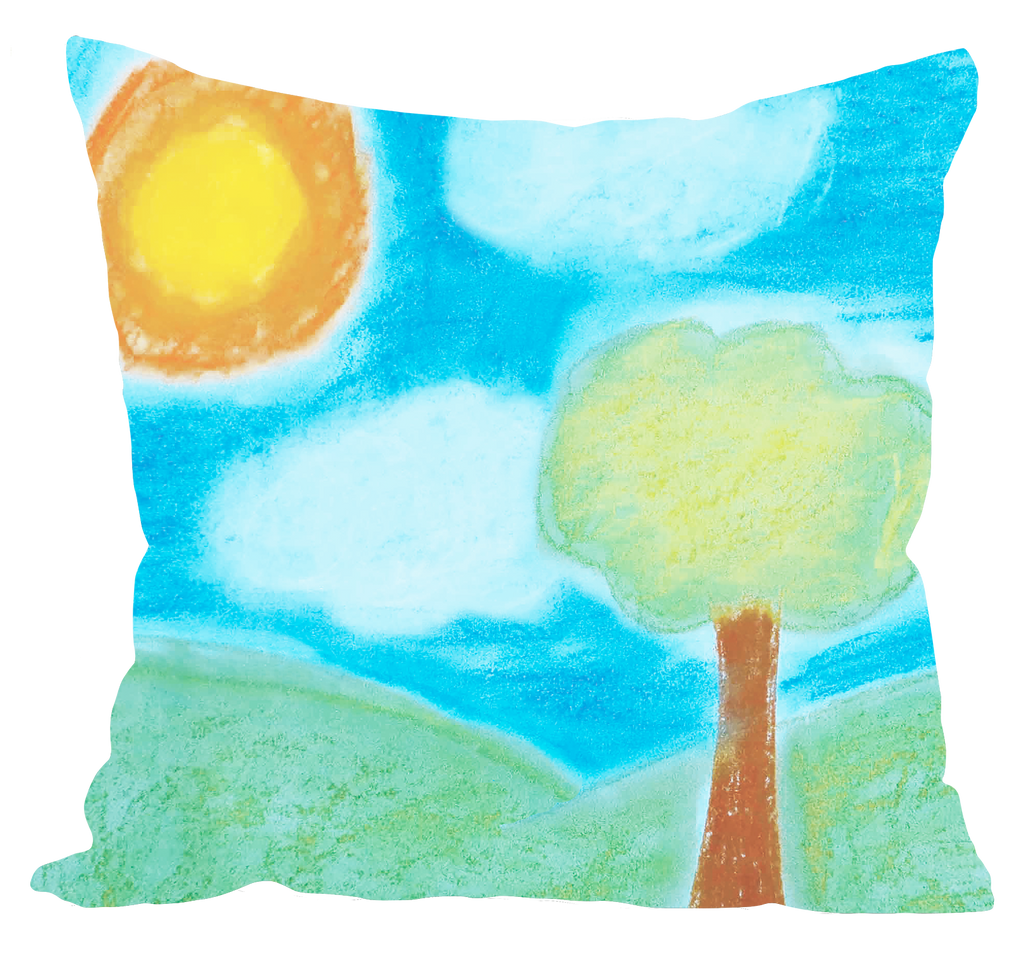 Green Pastel Landscape Pillow