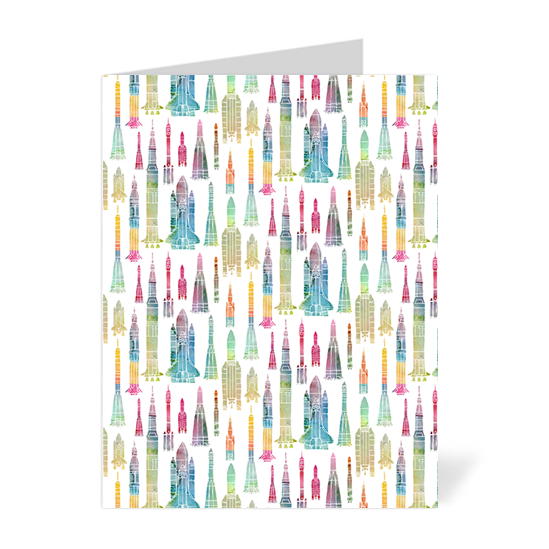 Watercolour Rockets Note Cards