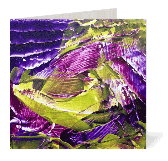 Purple Green Abstract Note Cards