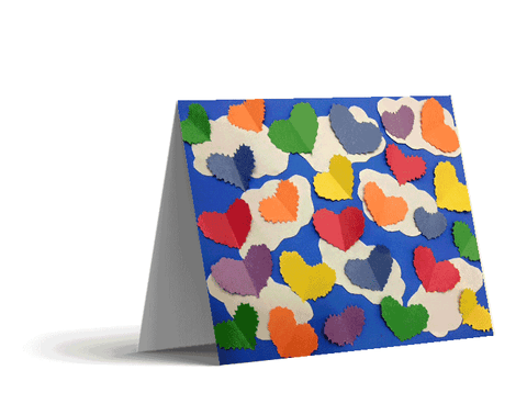 Colorful Cutout Hearts Note Cards