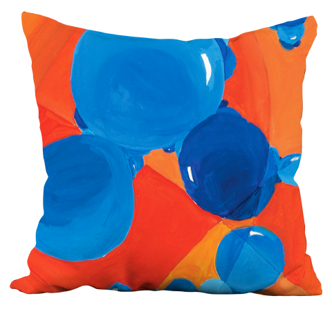 Orange-Blue Bubbles Pillow