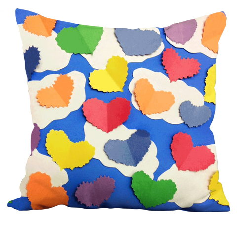 Colorful Cutout Hearts Pillow