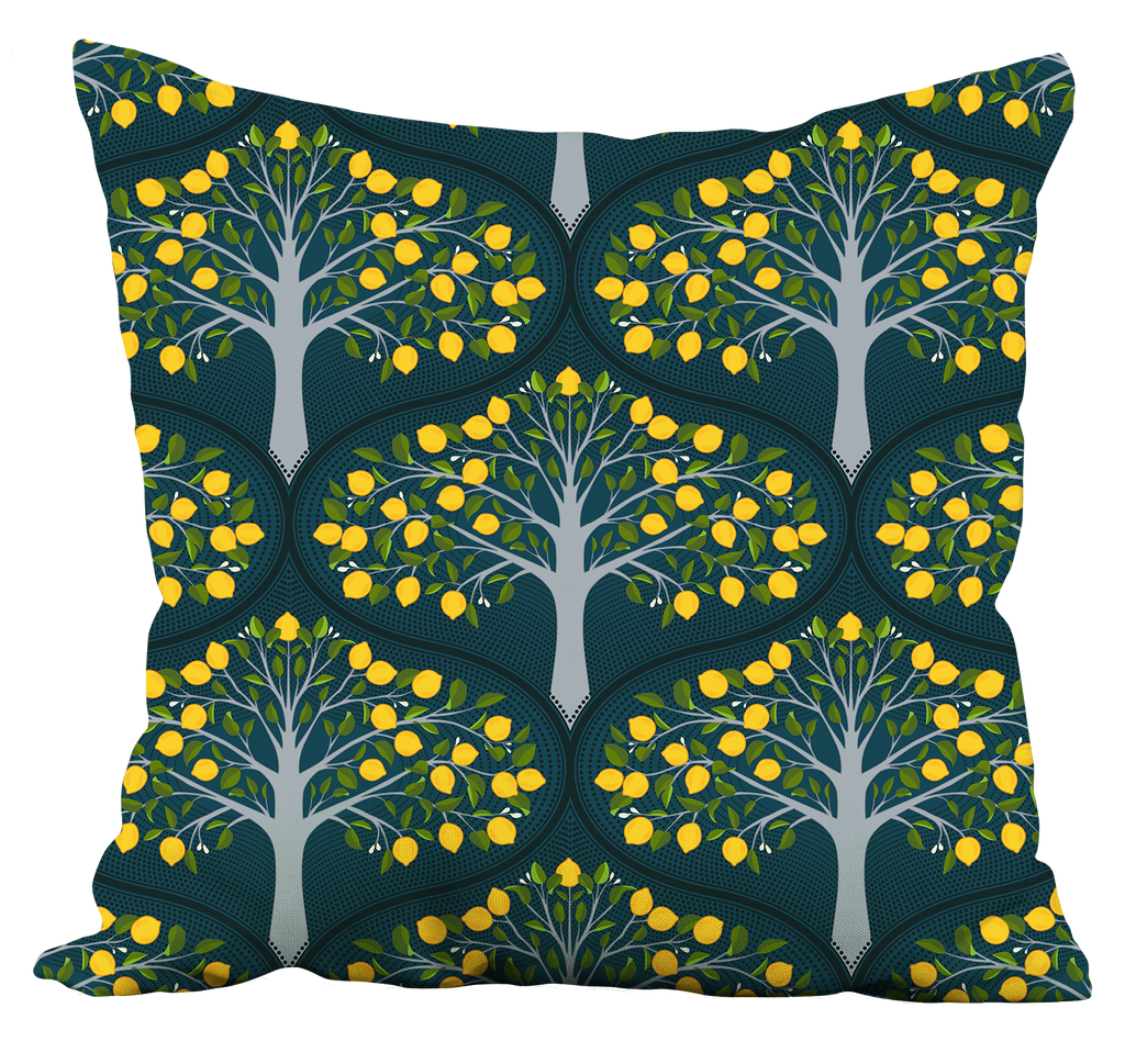 Midnight Lemon Trees Pillow