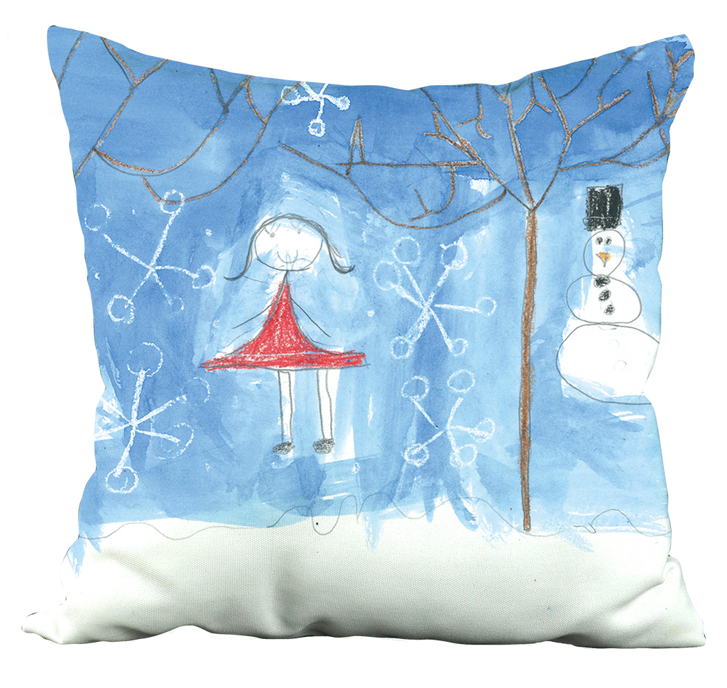 Girl and Snowman Pillow