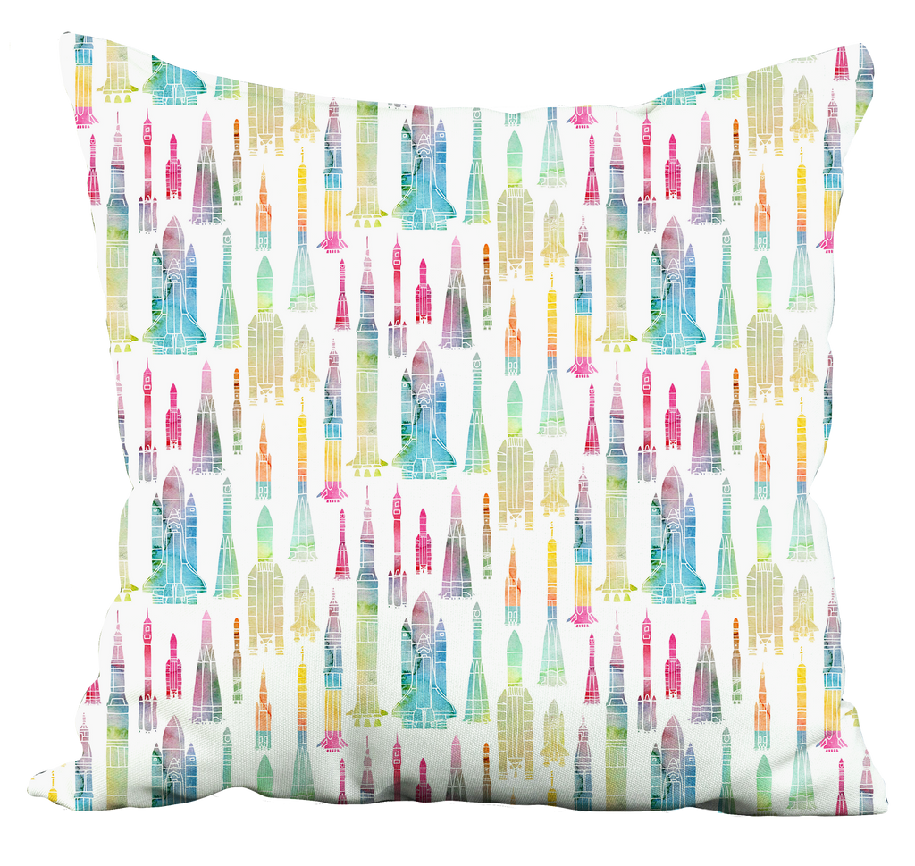 Watercolour Rockets Throw Pillow