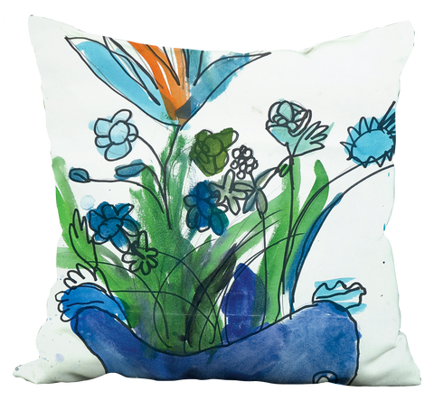 Blue Vase & Flowers Pillow