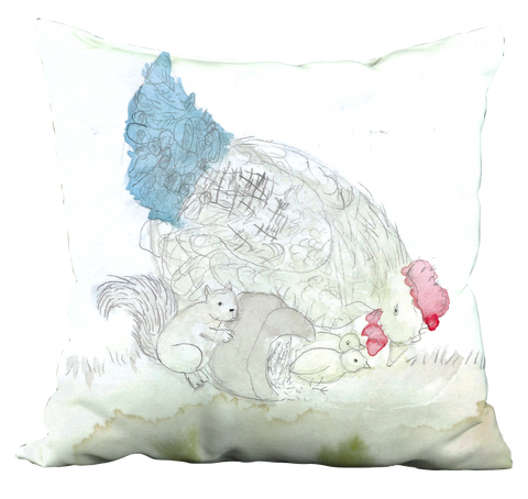 Squirrel & Chickens Pillow